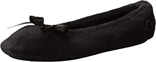 Isotoner Women's Terry Ballerina Slipper with Bow for Indoor/Outdoor Comfort,