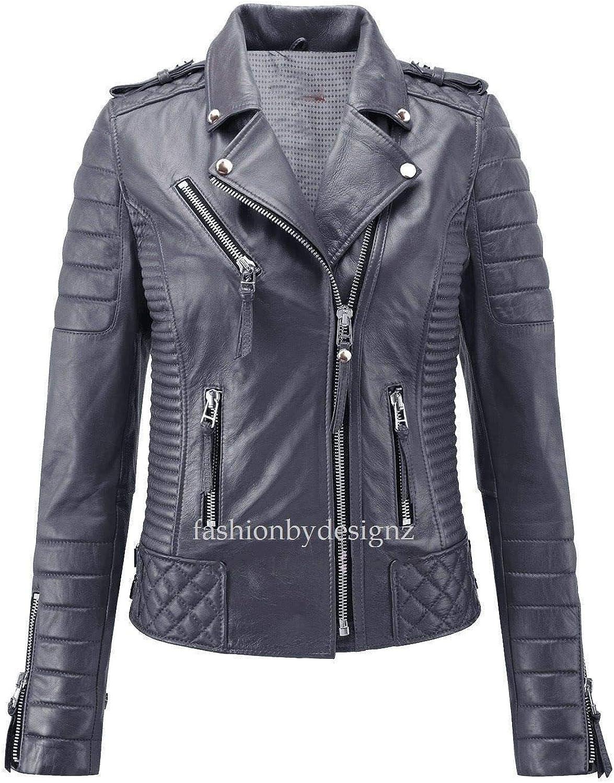 Alishbah Women's Leather Jacket Stylish Motorcycle Biker Genuine Lambskin WJ 294