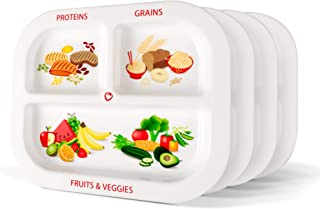 Healthy Habits Divided Kids Portion Plate 4-Pack, 3 Fun & Balanced Sections for Picky Eaters: Fruits & Veggies, Grains, and Protein