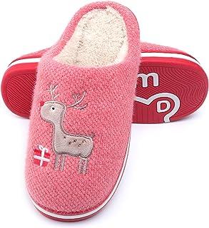 WINZYU Chaussons Femme Hommes Hiver Chaud Peluche Pantoufles Confortable Renne Cadeau Maison Chaussures