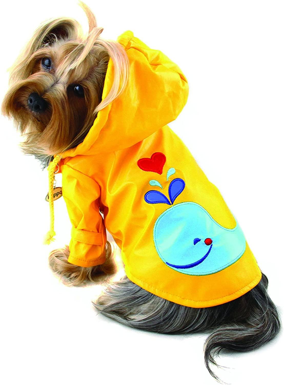 Dog Puppy Splashing Whale Waterproof Jacket Raincoat Rain Gear Rainwear with Cotton Lining for Small Breeds (XLARGE)