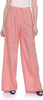 Andiamo Hairline Stripe High Waist Wide Leg Linen Palazzo Pants for Women