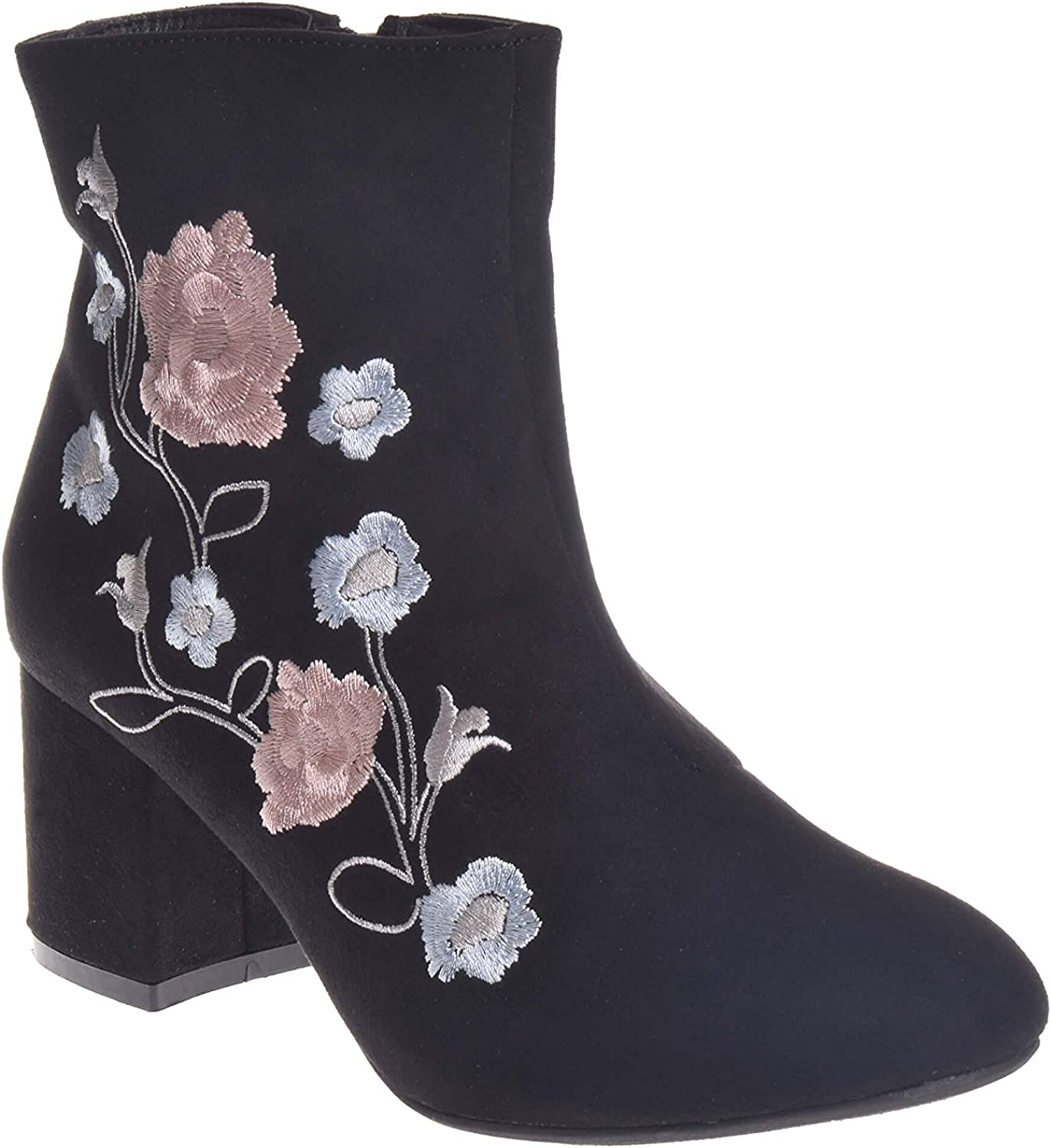Wanted Deal Block Heel Bootie with Floral Embroidery, Black, Size 8.0