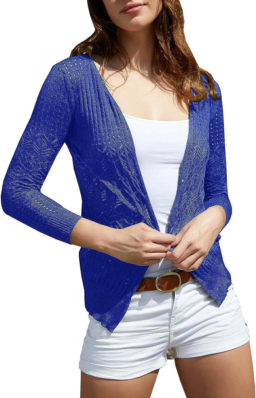 Huiyuzhi Women's Summer Crochet Cardigan Sweaters Lightweight Thin VNeck Hollow Long Sleeve Soft Basic Knit Coats