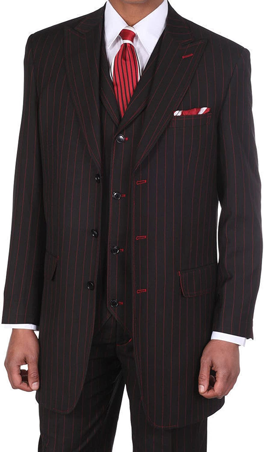 Fortino Landi Pinstripe Design High Fashion Suit with Collared Vest 5903V