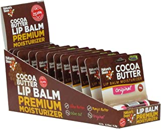 Nature's Bees, Cocoa Butter Lip Balms, All Natural Lip Moisturizer Treatment - Pack of 12, Shea Butter