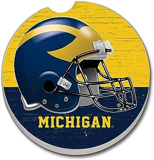 CounterArt Absorbent Stone Single Fan Car Coaster- Helmet University of Michigan
