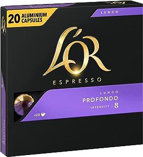L'Or Espresso Café Profondo - Intensité 8- 20 Capsules en Aluminium Compatibles avec les Machines Nespresso