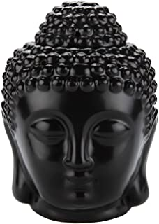 ComSaf Ceramic Buddha Head Essential Oil Burner with Candle Spoon Black, Aromatherapy Wax Melt Burners Oil Diffuser Tealig...