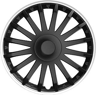 Cartrend 10560 Topeka kołpaki ozdobne o sportowym wyglądzie felg aluminiowych, kolor czarny/srebrny, 4-częściowy, 35,56 cm...