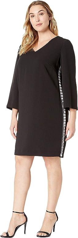 Plus Size Shift Dress with Jewel Side Stripe