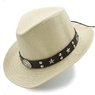 LiJuan Shen Women Men Straw Western Sombrero Cowboy Hats Dad Beach Sun Hat