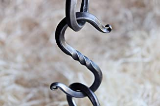 """3.5"""" Forged S Hook for Hanging Blacksmith Made Decorative Wrought Iron Rack Hook Rustic Traditional Farmhouse Storage Decor Handmade Medium Oil Rubbed Metal Hanging Hooks with 1 Inch Diameter"""