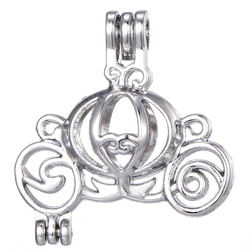 Stainless Steel Tones Alloy Bead Carriage Cage Pendant Wish Lucky Lava Pearls Stones Perfume Essential Oils Create a Scent Diffusing Locket Pendant Charms (A357)