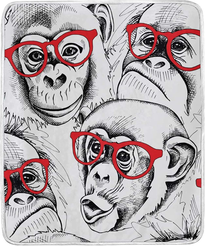 TropicalLife Animal Monkey Cartoon Pattern Print Throw Blanket Soft Velvet Microfiber Gift Blankets 50 x 60 Inch All Season Decorative for Baby Kids Girls Adult Women Men