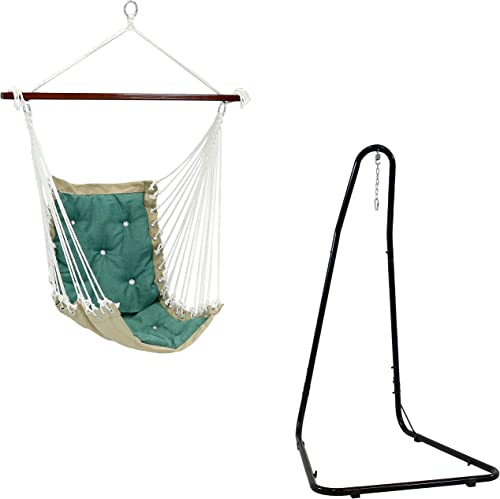 discount Sunnydaze Adjustable 79- to 93-Inch Tall 330-Pound Weight Capacity Black popular Hammock Chair Stand and 300-Pound Weight Capacity Tufted Victorian Hammock discount Chair Swing in Sea Grass Bundle online