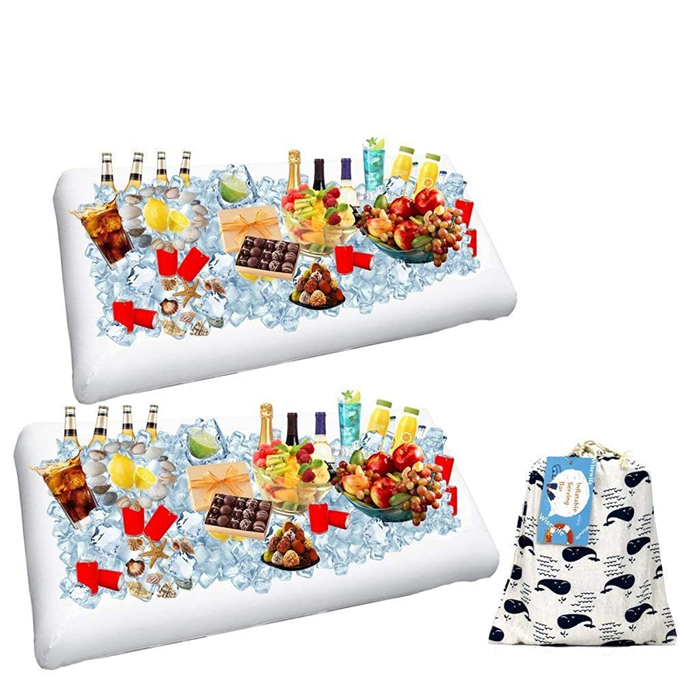 2 Pack Inflatable Salad Bar Buffet Ice Cooler Beverage Serving Bar Food Drink Holder for Party Picnic BBQ Luau with Drain Plug by Wisewife
