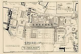Plan of The Roman Forum Forum Magnum Rome 1883 Historical Illustration Art Print Cool Huge Large Giant Poster Art 54x36