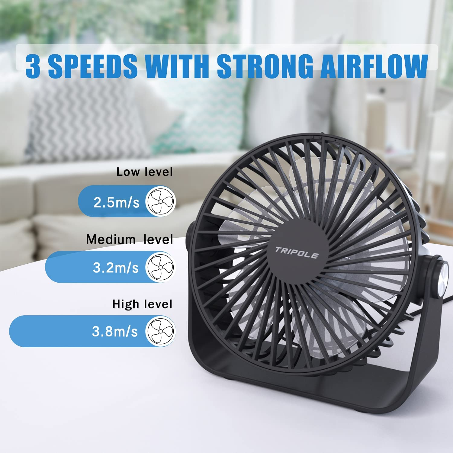TriPole USB Desk Fan Mini Portable Fan with Strong Airflow Small Table Fan 3 speeds 360°Rotatable Personal Fan for Desktop Home Office Bedroom Camping Outdoor,5.1Inch,4.9ft Cable