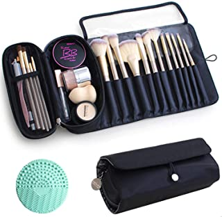 Retro Canvas Wrap Roll Up Pen Case Make Up Brushes Holder Stationery Pouch LR