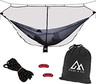 Peak & Co. Hammock Bug & Mosquito Net 12' with Water Resistant Bag & Guyline Adjusters. Fits All Single/Double Camping Hammocks. Compact. Lightweight. Fast/Easy Setup. Dual Sides Zippers