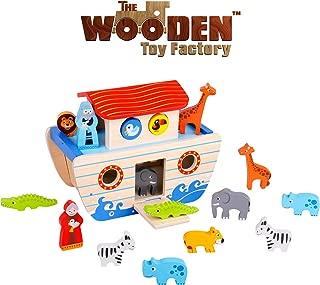 The Wooden Toy Factory - Set de Juegos del Arca de Noé - Juguetes Didácticos de Madera para Bebés de 24 Meses Niños de 2 Años