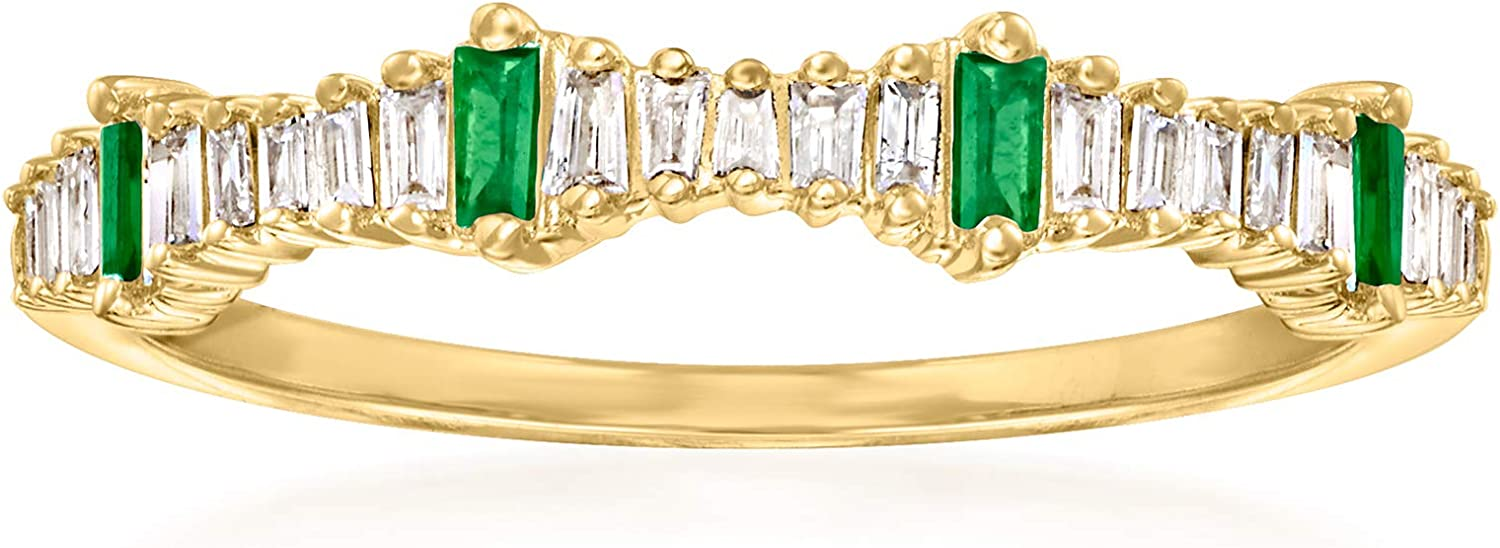 Ross-Simons 0.14 ct. t.w. Diamond and .10 ct. t.w. Emerald Stackable Ring in 14kt Yellow Gold