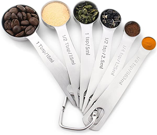 1Easylife 18 8 Stainless Steel Measuring Spoons Set Of 6 For Measuring Dry And Liquid Ingredients
