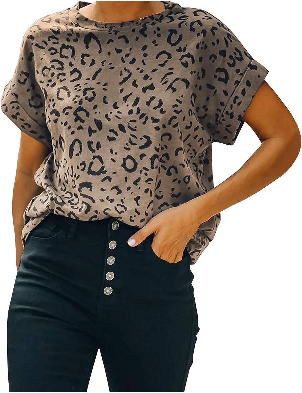 FABIURT Womens Short Sleeve Tops,Women Fashion Leopard Printed Crew Neck T Shirts Summer Casual Loose Blouse Tunic Tops