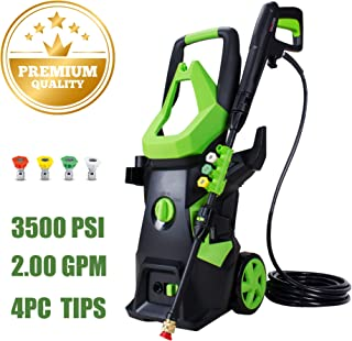 WATTY 3500 PSI Electric Pressure Washer, 2.00 GPM High Power Cleaner 1800watt Car Wahser Machine with 4 Quick-Connect Spray Tips