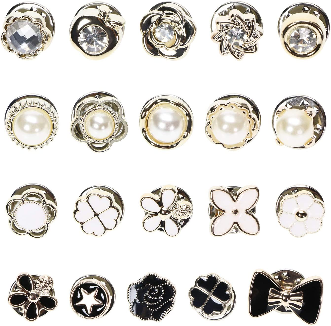 Penta Angel Women Shirt Brooch Pins 20Pcs Mini Cover Up Enamel Safety Lapel Pins Buttons Sweater Shawl Clips for Coat Dress Clothes Decoration