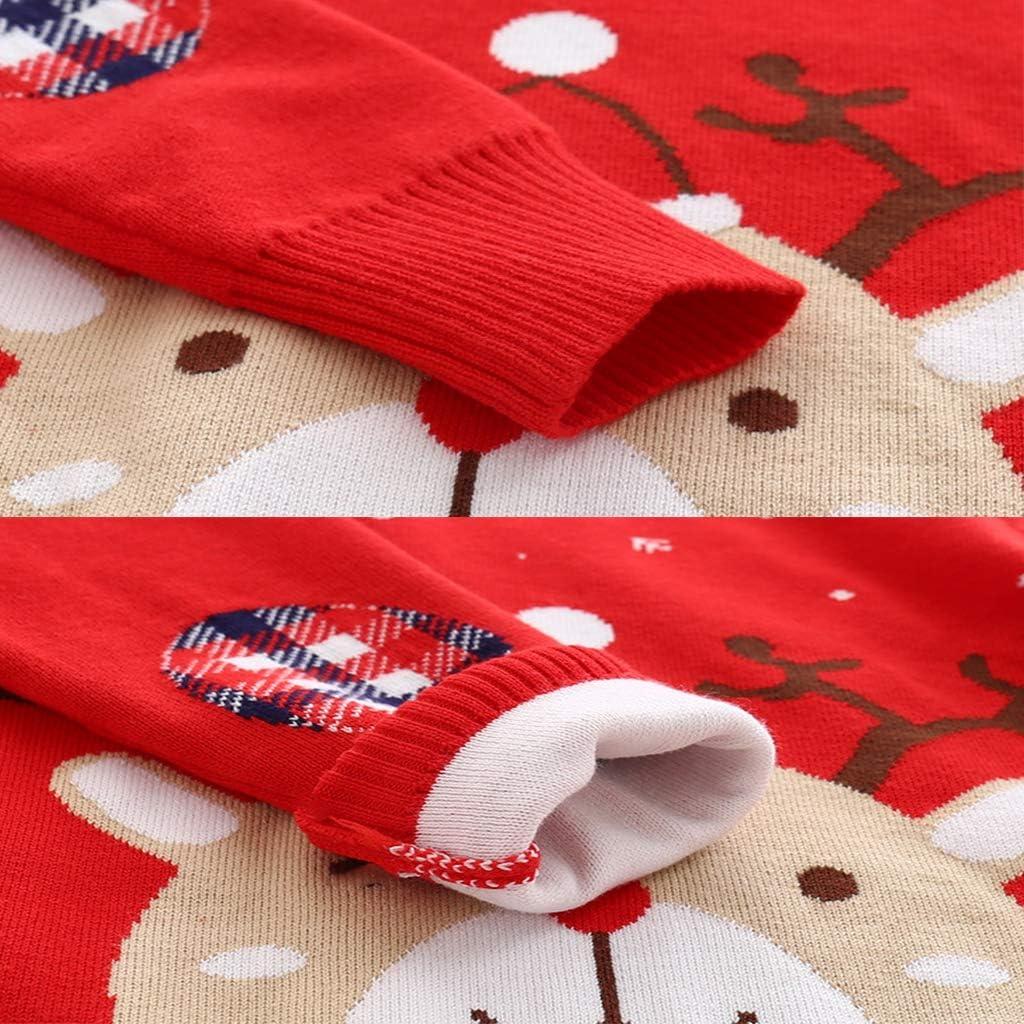 Surgoal Bambini Natale Maglione Lavorato a Maglia Ragazzi Ragazze Manica Lunga Renna Magliette Pullover Maglieria Jumper Felpa