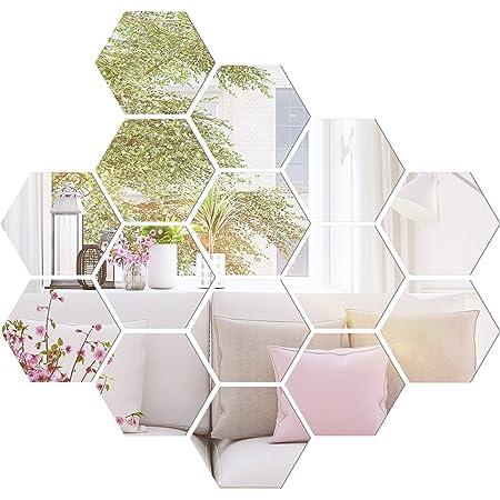 YENJO 12Pcs//Set Household Use Hexagon Acrylic Mirror Wall Stickers