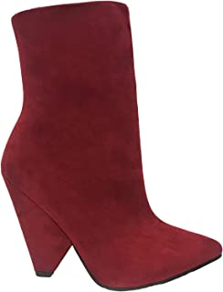 Anne Michelle Immerse-12m Women Ankle High Pointed Toe Cone Shape Heel Boots Red