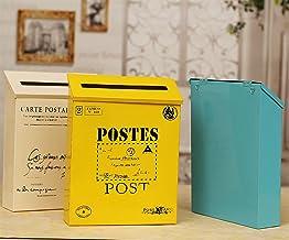 Wandmontage brievenbus mode vintage emmer tin krantendozen mailbox metalen brief post postdoos woondecoratie (kleur: Beige)