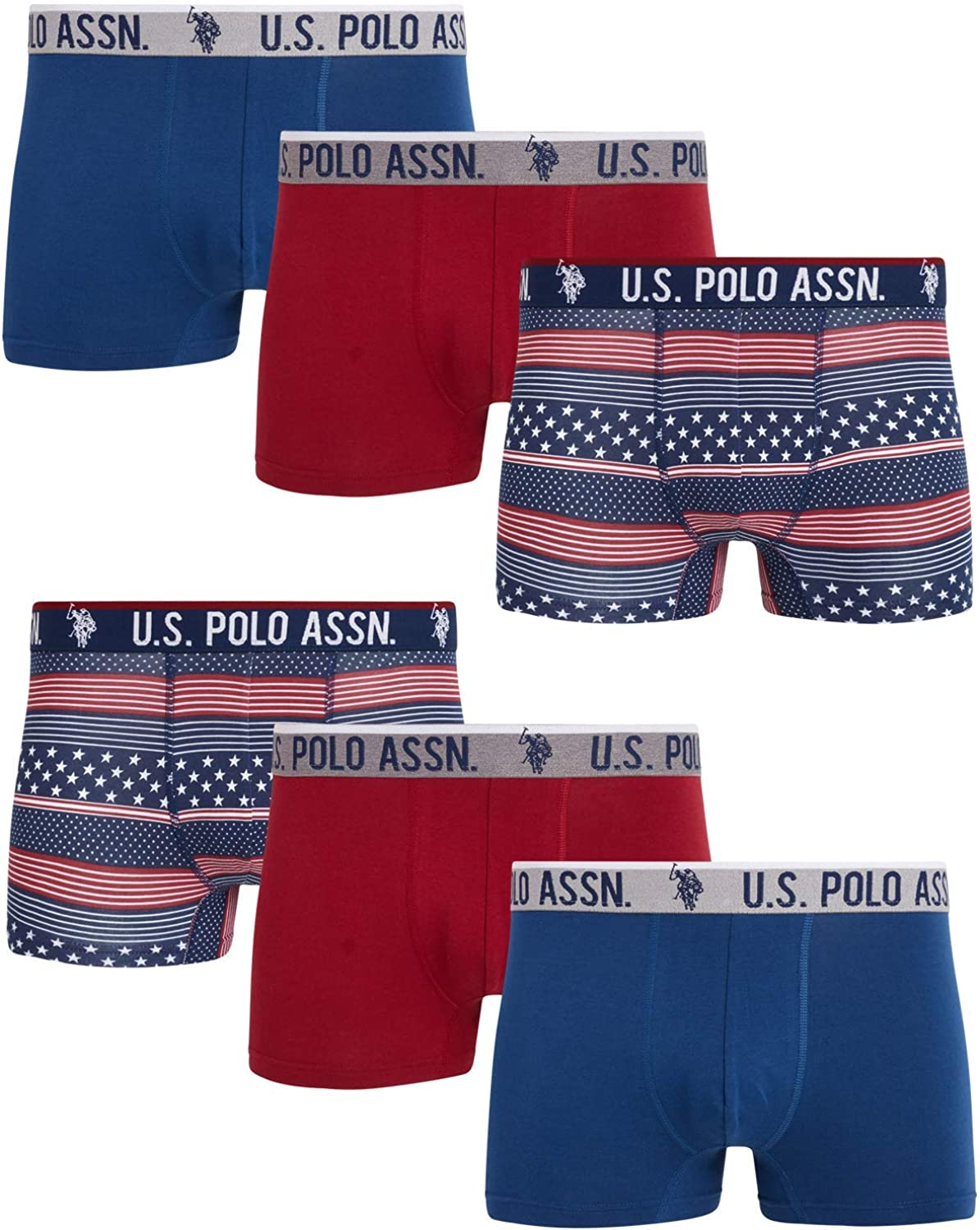 U.S. Polo Assn. Men's Underwear – Cotton Stretch Trunks with Comfort Pouch (6 Pack)