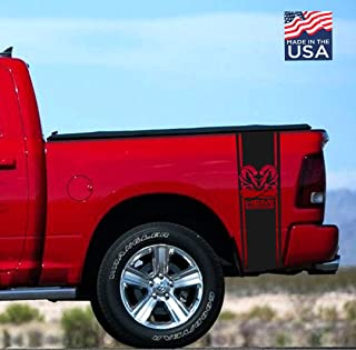 Dodge Ram HEMI Powered Muscle Rear Bed 2002-2018 Dodge Ram 1500 2500 Body Rear Side Bed Decals, Black Stripes Vinyl Stickers, racing Custom auto Graphics SRT hellcat, Hemi 5.7 L Rebel