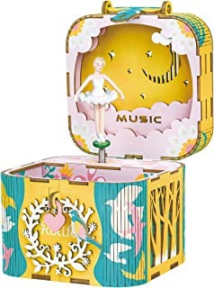 RoWood 3D Wooden Puzzle Music Box & Jewelry Box Assembled Handicraft Toy, Creative Gift - Dancing Ballerina