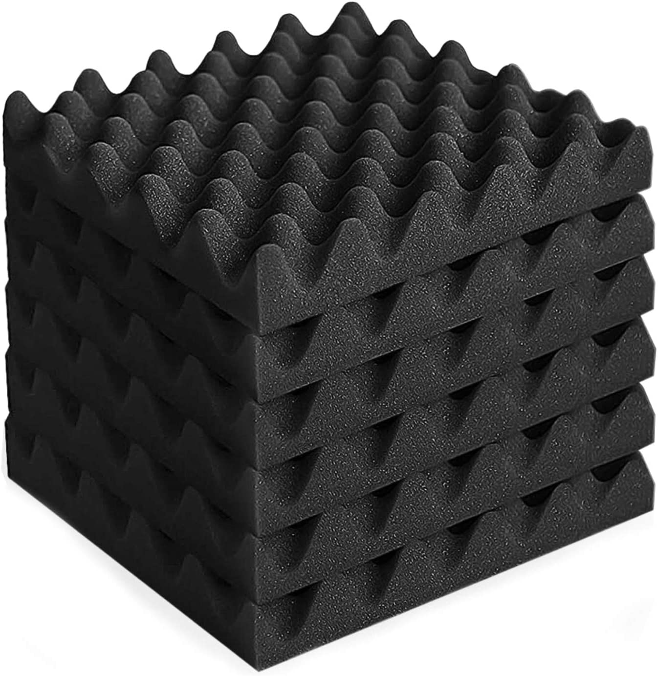 MAYQMAY 6-Pack Pyramid Acoustic Foam Panels Tiles Fireproof Soundproofing Treatment Wall Panels Offices Noise Cancelling Foam for Recording Studios 10Lx10Wx2D, Black Home