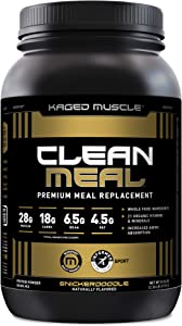Kaged Muscle Clean Meal; Meal Replacement Shake with Whey Protein Isolate, Clean Carbs, MCT Oil Fats, Organic Vitamins and Minerals, Snickerdoodle, 20 Servings