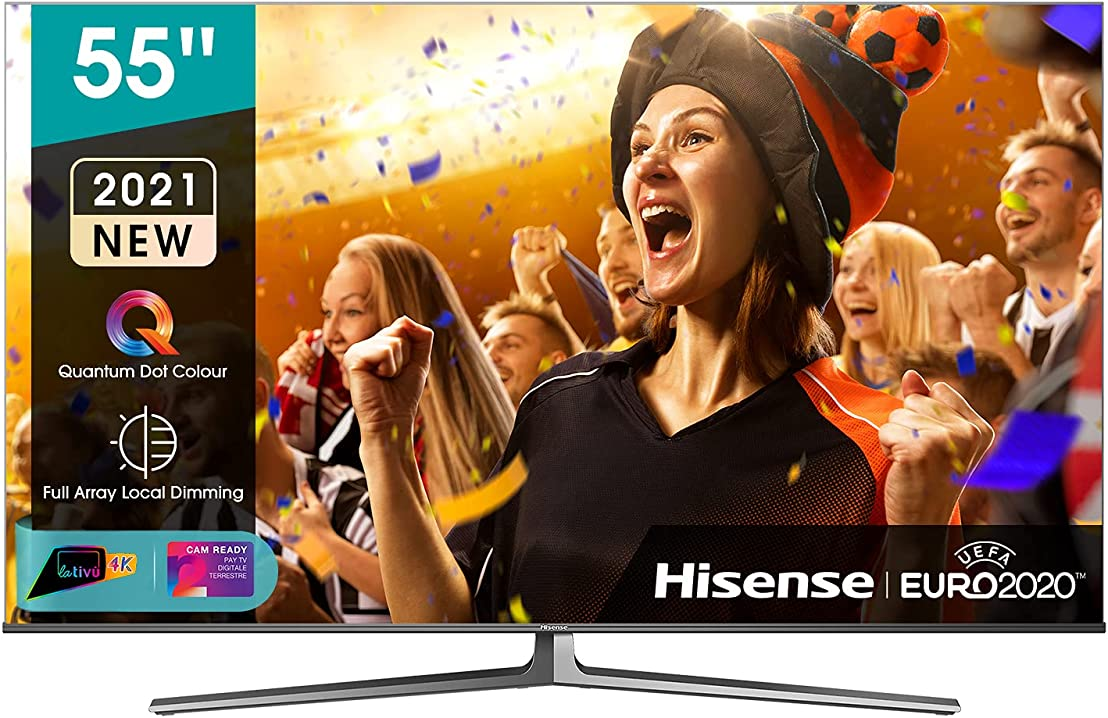 Tv 55 pollici hisense uled 4k 2021 55u88gq, quantum dot ips, smart tv vidaa 5.0, hdr dolby vision iq