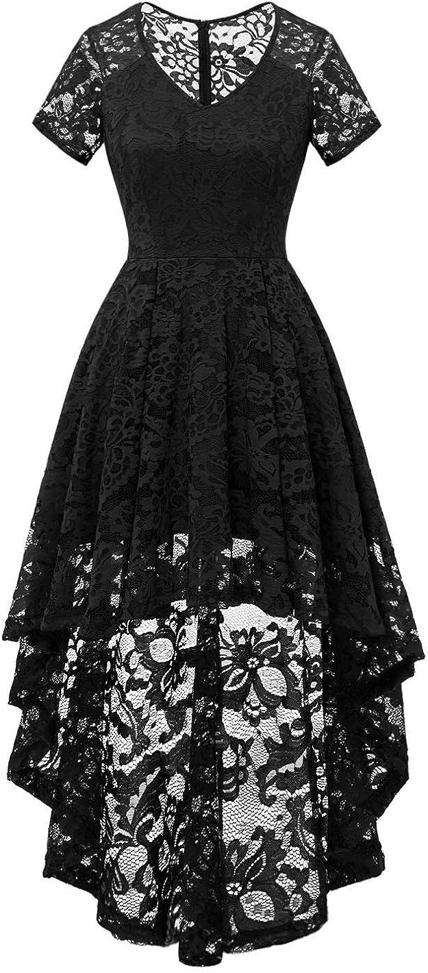 MUADRESS Women's Vintage Cocktail Dress Floral Lace V Neck Hi-Lo Party Dress
