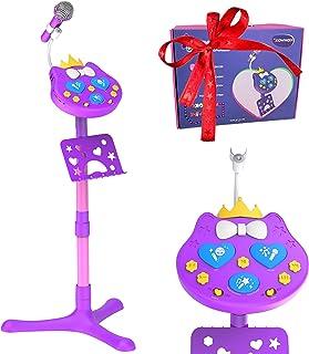 VOZKOM Kitty Star Enfants Karaoké Micro sur Pied, Rechargeable Karaoké Chant Machine Micro Jouet Filles 3 4 5 6 Ans