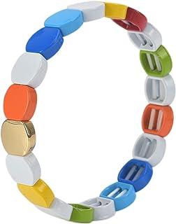 Coolcos Honeycomb Enamel Tile Bracelet - Stackable Rainbow Colorful Shiny Gold Tila Beads Bracelets for Women & Men Color ...