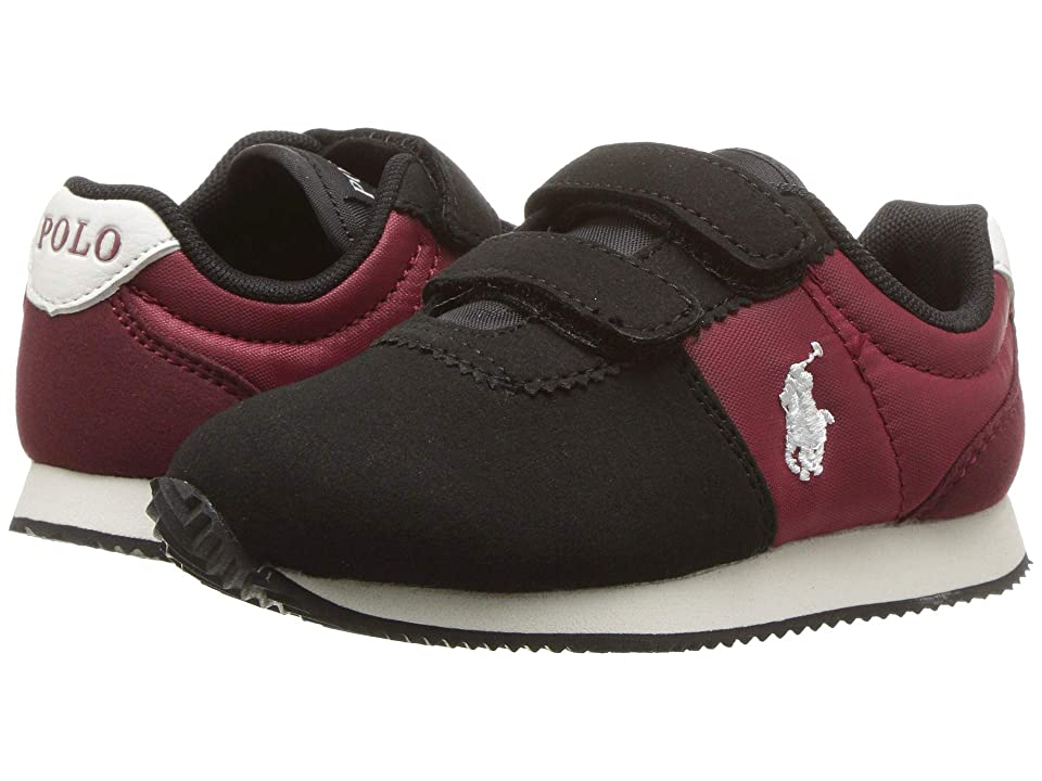 Polo Ralph Lauren Kids Brightwood EZ (Toddler) (Black/Burgundy Microsuede) Boy