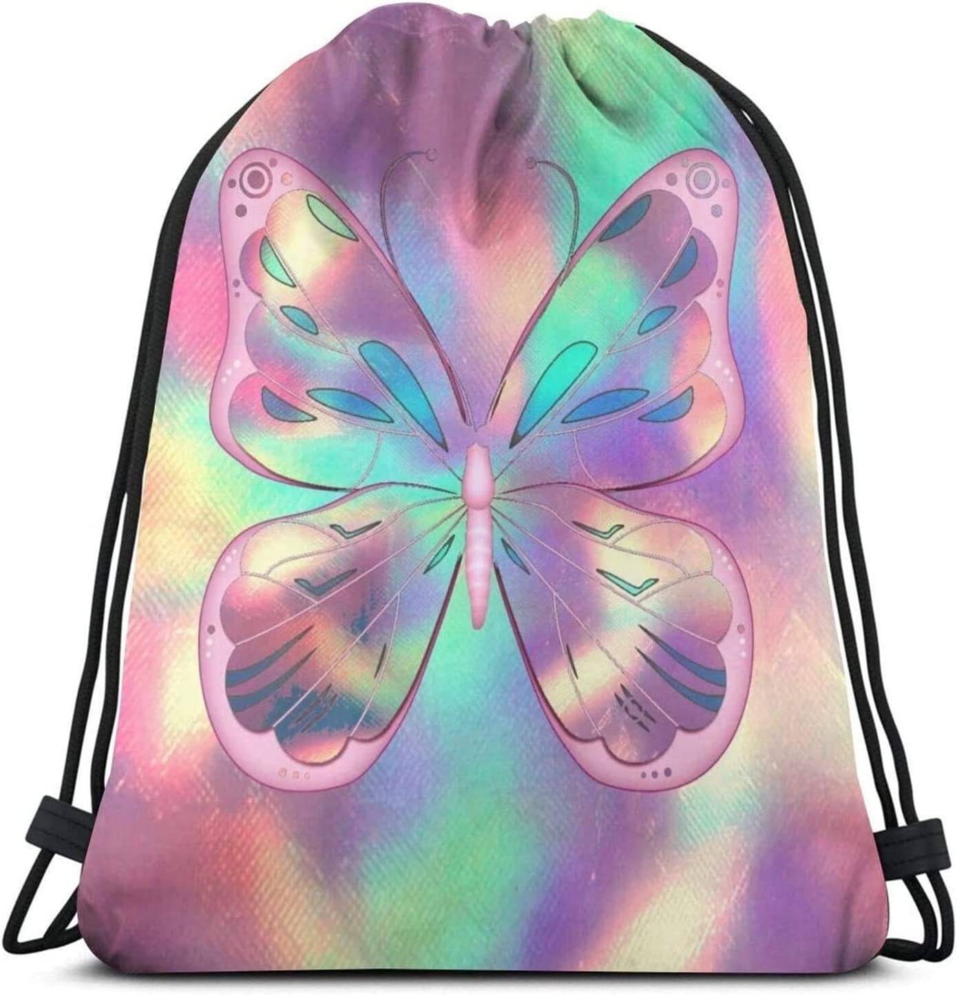 Pink New products world's highest quality popular Butterflies Texture 100% quality warranty! Drawstring Bags Sport Sack Backpack Gym