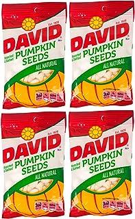 DAVID | Roasted and Salted Pumpkin Seeds | All Natural 2 Oz Per Bag | 4 Pack