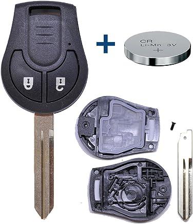 Batterie Funk Schlüssel Gehäuse passend für Nissan Micra Note Navara X-trail