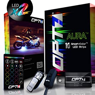 OPT7 10pc Aura 3-into-1 Motorcycle LED Double Row Light Strip Body Kit   Multi-Color Accent w/Switch for Street-Sport