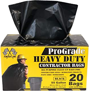 Reli. ProGrade Contractor Trash Bags 55 Gallon (20 Bags w/Ties) Black 55 Gallon Trash Bags Heavy Duty, Garbage Bags/Construction Bags (2 mil) (55 Gallon - 60 Gallon), Black